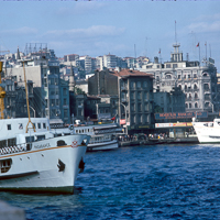 Greece Turkey 1973 - Istanbul is a thriving city on either side of the Bosphorus. In 1973 the Bosphorus Bridge was completed allowing us to drive onwards towards eastern Turkey.