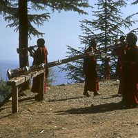 India 1973 - India 1973 - In and around MacLoud Ganj. Monks practice playing the horns on the side of the hill.