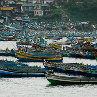 India 2013 Favourites - Kovalum - on the far south of the Malabar Coast of Kerala. Fishing is restricted during the breeding season in an effort to maintain fish stocks, so the fishing boats shelter in the harbour.