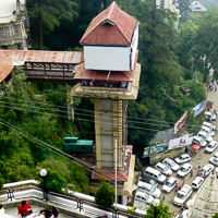 India 2013 The Story - Shimla - Queen of the hill stations. The lift down to the roadway level.