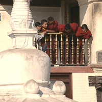 Nepal 2002 - Young Tibetan monks gather on a balcony to watch morning rituals performed at the various shrines of Swyambunath to the north of Kathmandu in Nepal. This is a holy place for both Hindus and Buddhist who, as in many places in Nepal, worship side by side.